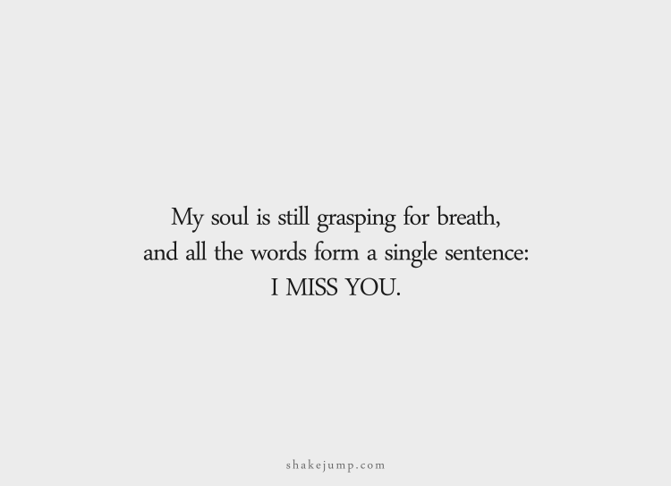 My soul is still gasping for breath, and all the words form a single sentence: I miss you.
