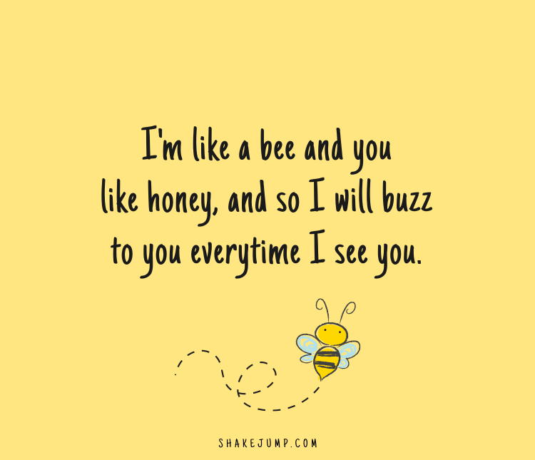 I am like a bee and you like honey and so I will buzz to you every time I find you.
