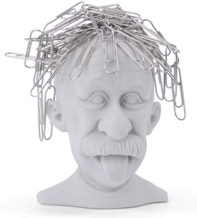 Einstein paper clip holder
