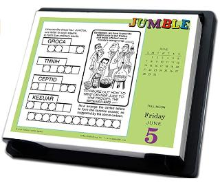 Jumble word game calendar