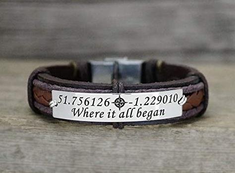 Latitude Longitude bracelet for men