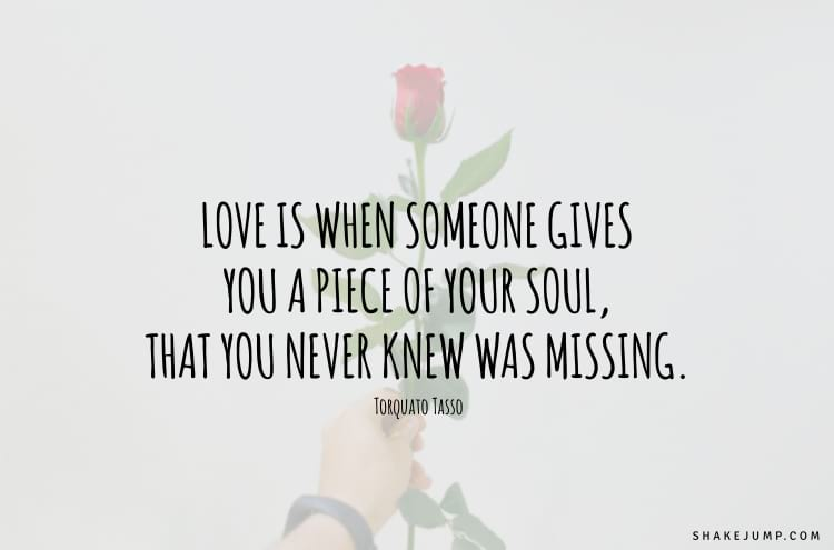 Love is when someone gives you a piece of your soul, that you never knew was missing.