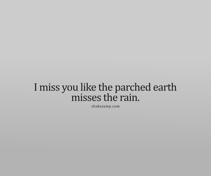 I miss you like the parched earth misses the rain.