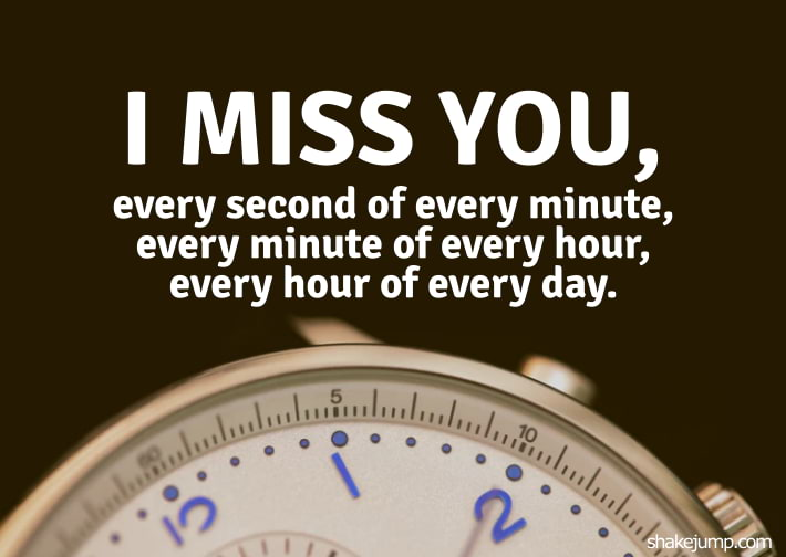 I miss you every second of every minute, every minute of every hour, every hour of everyday.