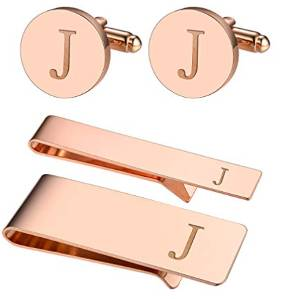 Cufflinks & Tie Bar with Personalized Initials