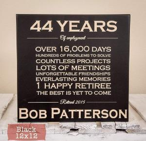 Personalized retirement plaque