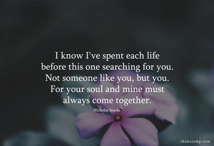 I know I've spent each life before this one searching for you. Not someone like you but you, for your soul and mine must always come together.