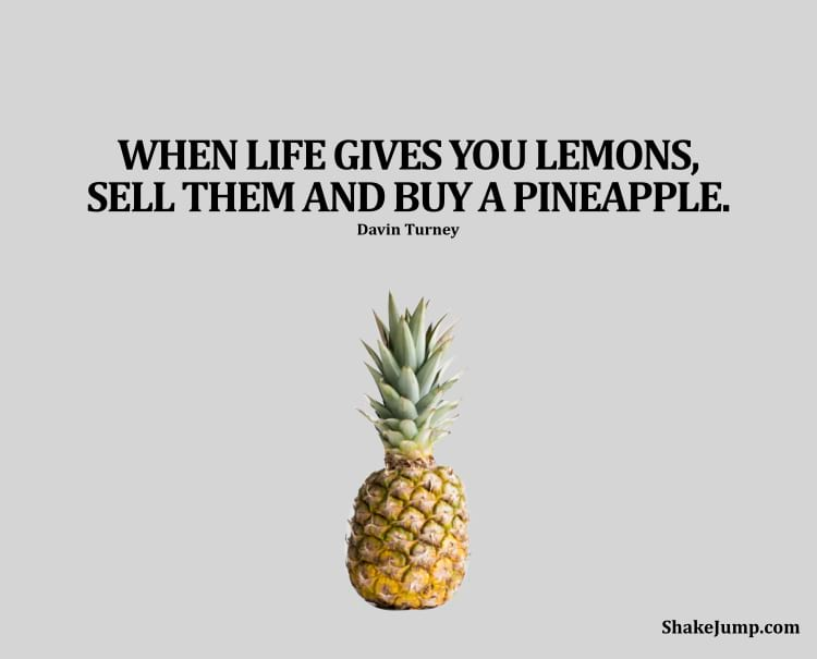 When life gives you lemons, sell them and buy a pineapple.