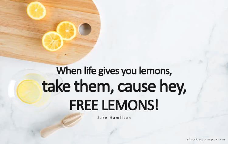 When life gives you lemons, keep them, cause hey - free lemons!